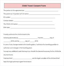 Printable Consent Forms Free Parental Child Travel Form Template