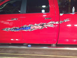 100 Semi Truck Decals American Flag Tear Side Decals On Red Pickup Truck Jeep