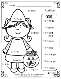 Halloween Multiplication Worksheets Grade 5 two free halloween color by numbers addition with three single