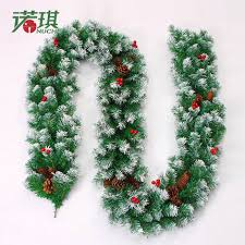 27m Christmas Garland Green With Snow Pine Cone Red Fruits Decoration Decorations For Home