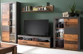 wohnwand in used wood mit matera grau schrankwand indy 343 cm inkl beleuchtung