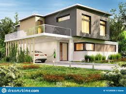 100 Glass Modern Houses Luxury House And Electric Car Stock Photo Image Of