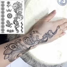 1piece Waterproof Fake Tattoo Styling Stickers Men Women Black Henna Choker Feather Arabic Temporary Tattoos Hand Tatoo J012B In From