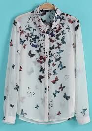 Multicolor Butterfly Print Long Sleeve Chiffon Blouse Blouses Tops