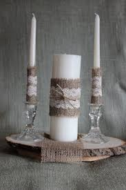 Rustic Or Shabby Chic Unity Candle With Jute Twine Burlap And Hand Tea Dyed Lace Accents Main Is 9 Inches Tall Unscented Accent