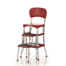 Cosco Retro Chair With Step Stool Black by Amazon Com Cosco Retro Counter Chair Step Stool Red Home