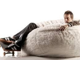 Decor Fluffy Lovesac Bean Bag In White For Modern Seating Ideas