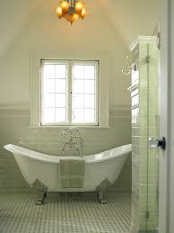 green glass subway tile bathroom midcentury with faucets