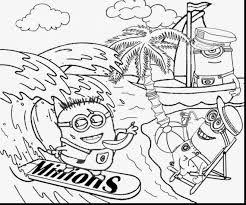 Stunning Minion Beach Coloring Pages With Minions And Banana
