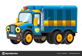 100 Funny Truck Cartoon Happy And Funny Police Truck Stock Photo Illustrator_hft