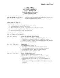 Resume Part Time Sample Resume Objectives Examples Of Career