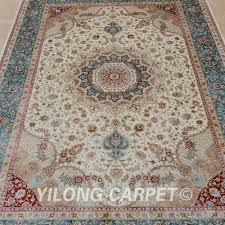 Yilong 4x6 Turkish Silk Carpet Vantage Medallion Beige Persian Rug Shop 0099 In From Home Garden On Aliexpress
