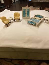 vintage lundby dollhouse schlafzimmer set blau himmel bett vintage garderobe schweden