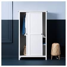 hemnes kleiderschrank mit 2 schiebetüren weiß gebeizt 120x197 cm