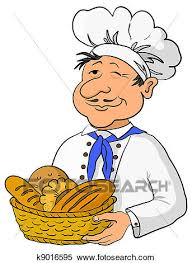 Stock Illustration Baker with bread basket Fotosearch Search Clipart Drawings Decorative