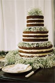 Gorgeous Naked Wedding Cake With Babys Breath