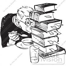 61448 Retro Clipart Of A Vintage Teenage Boy Hiding Behind Books While Eating In Black