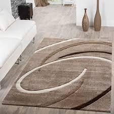 t t design kurzflor wohnzimmer teppich modern ebro mit spiralen muster beige braun mocca größe 120x170 cm