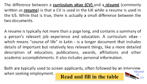 Difference Between Resume Or Cv - Crimani.com Free Resume Templates For 20 Download Now Versus Curriculum Vitae Esl Worksheet By Laxminrisimha What Is A Ppt Download The Difference Between Cv Vs Explained Elegant Biodata And Atclgrain And Cv Differences Among Or Rriculum Vitae Optometryceo Rsum Cognition Work Experience History Example Job Descriptions