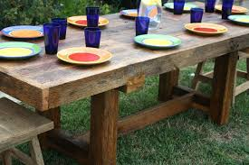 Rustic Wooden Patio Furniture Make Your Own Custom Outdoor Dining Table From Thick Pallet Light Tables Diy