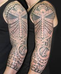 Tribal Mexican Tattoo On Left Sleeve