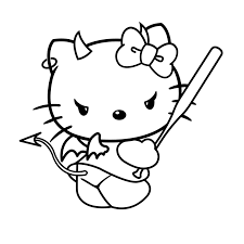 EVIL HELLO KITTY COLORING PAGE HALLOWEEN