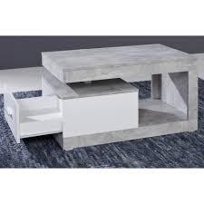 couchtisch in design grau und weiß wohnzimmertisch 90 x 55 cm mit schublade und ablage betonoptik