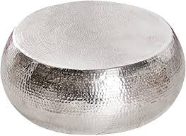 riess ambiente de design couchtisch orient 80 cm aluminium metall legierung silber hammerschlag optik unikat tisch handarbeit