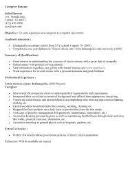 Caregiver Resume Objective Template