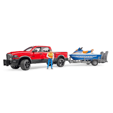 100 Bruder Trucks Toys RAM 2500 Power Wagon Pickup Truck Toy With Trailer Jet