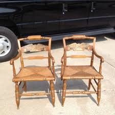 beautiful pair of ethan allen decorated hitchcock rush seat arm