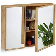relaxdays bad spiegelschrank 2 türig wandschrank aus bambus vormontierter badschrank hxbxt 50 x 65 x 14 cm natur
