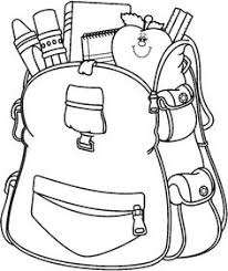 school bag clipart black and white 5