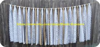 Rustic Charm Barn Wedding Burlap And Lace Garlands Swag Rag Tie Backdrop Curtain Shabby Chic Hanging Decoration