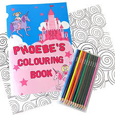 Princess Personalised Coloring Set With Pencils Colouring Books Gift Ideas For Children
