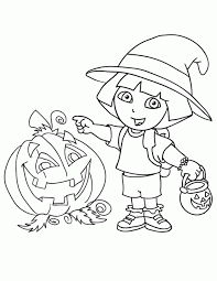 Dora The Explorer Halloween Coloring Page 2