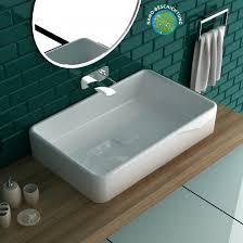 alpenberger design weiss aufsatzwaschbecken eckig waschtisch