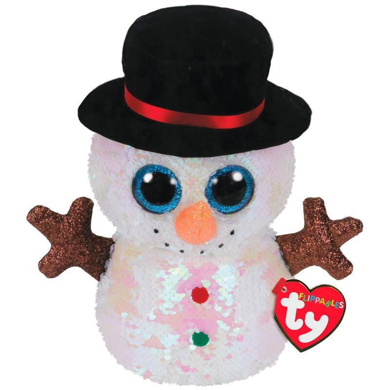 Ty Flippables Sequin Plush - Melty The Snowman (Medium Size - 9 inch)