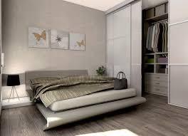 kleines schlafzimmer in beige mit kleinem begehb