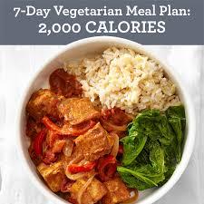 7 Day Vegetarian Meal Plan 2000 Calories