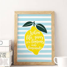 Lemonade Poster Funny Print Typography Kitchen Wall Decor Home
