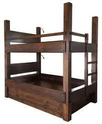 tall queen over queen bunk bed with integrated ladder shown with