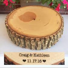 Rustic Wood Cake Stand Wedding Slab Slice