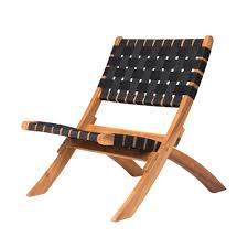 Patio Sense Sava Foldable Wood Outdoor Natural Black Web Lounge Chair