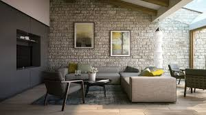 Living Room Rustic Chic Interior Design Exposed Brick Upholstered Couches Ideas On A