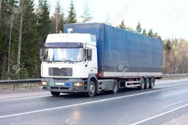 Blue White Tractor Trailer Truck Of