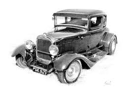 Hot Rod Drawing Art 32 Ford Coupe