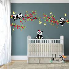 stikers chambre panda stickers muraux avec des branches de cerisier fleur et