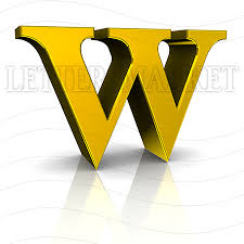 LettersMarket 3D Gold Letter W isolated on a white background