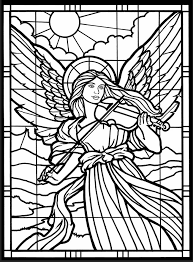 Adult Coloring Page From Amazing Angels Stained Glass Book Dover Publications